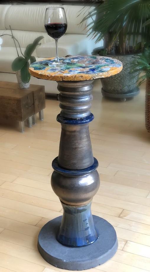 La Mesa 2018 Stoneware, shards, additions, glazes, glass Felted foot 87 cm  x 39 cm x 39 cm