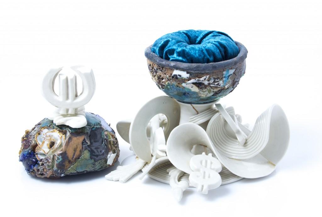 open ceramic jewelry box with blue velvet