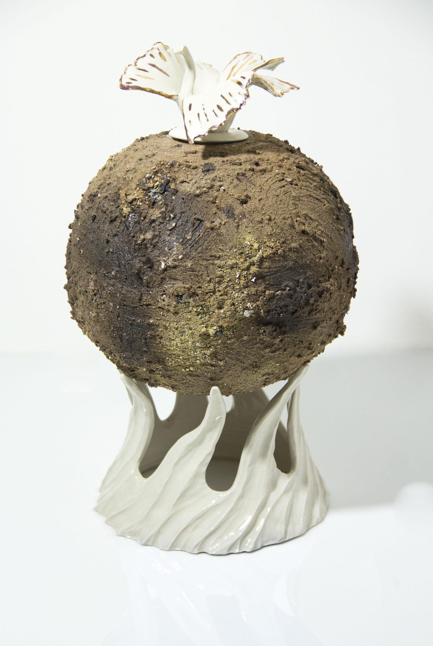 ceramic and porcelaIn globe sculpture