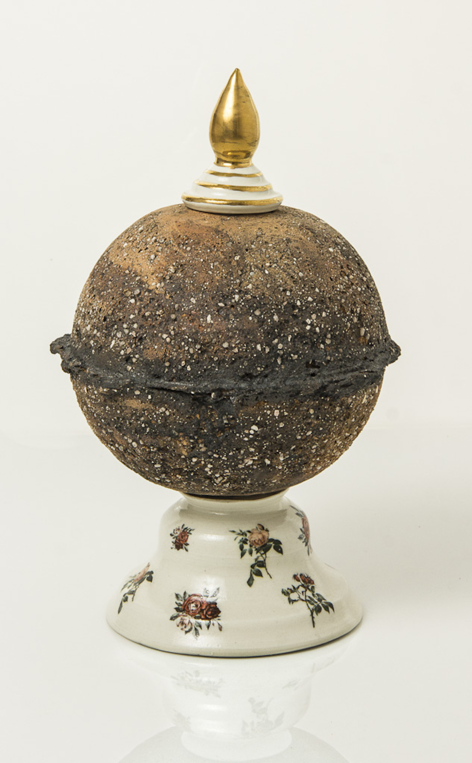 ceramic globe sculpture with bottle stopper