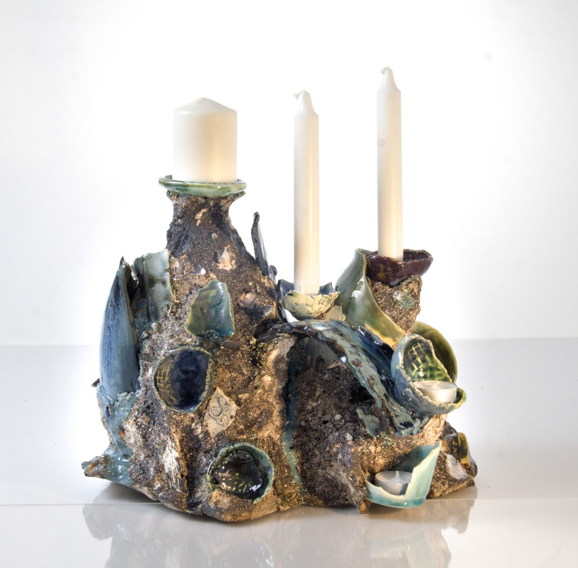 abstract ceramic mount as candleholder
