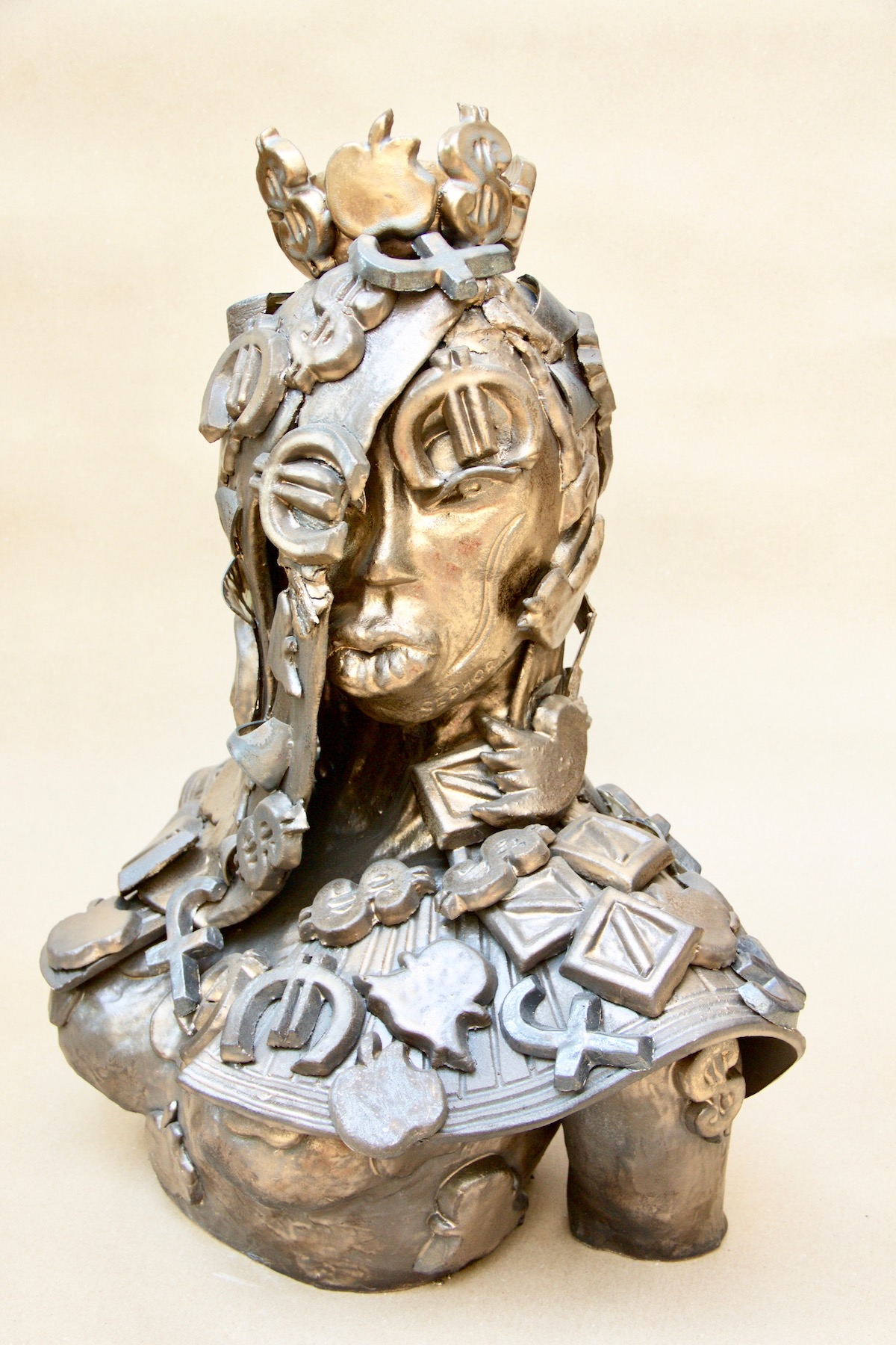 ceramic bronze sculpture of woman