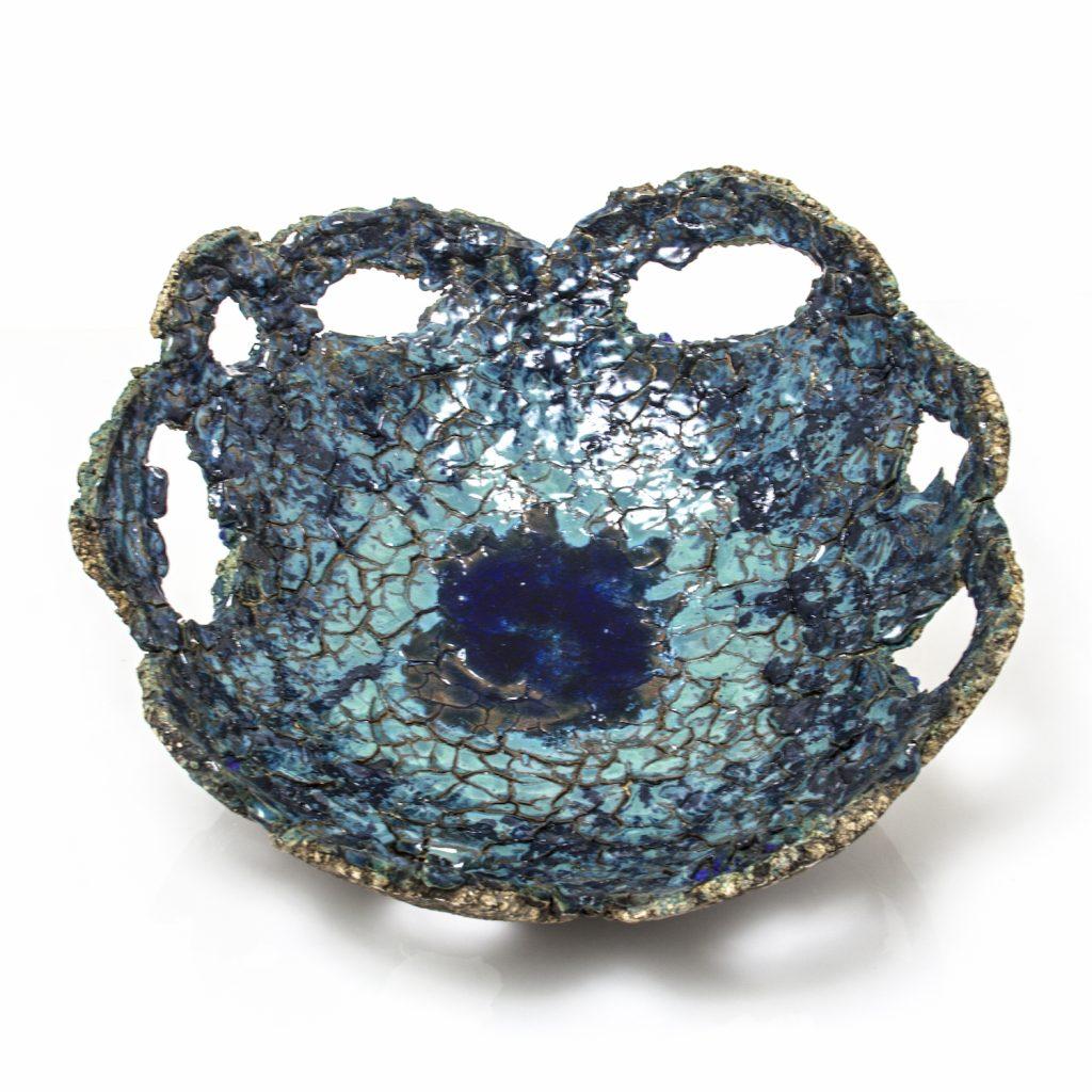 large crackled blue ceramic bowl