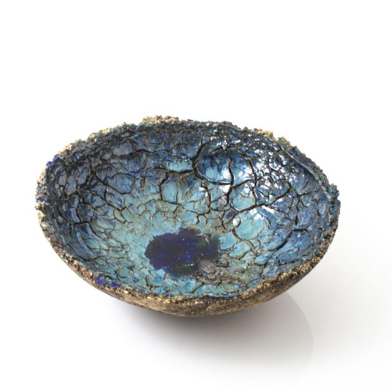 large blue crackled ceramic bowl