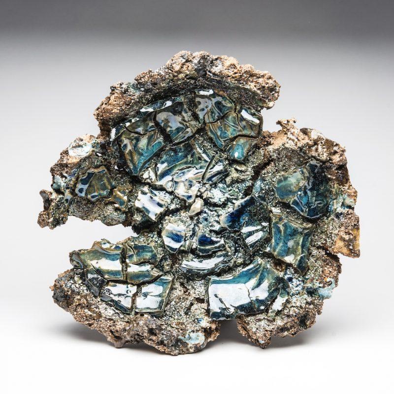 blue ceramic bowl with stones