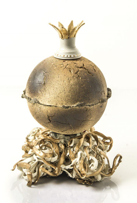 ceramic sculpture with globe