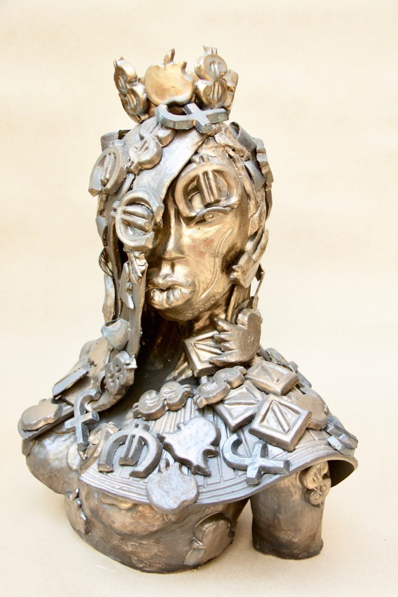 ceramic bronze sculpture of woman