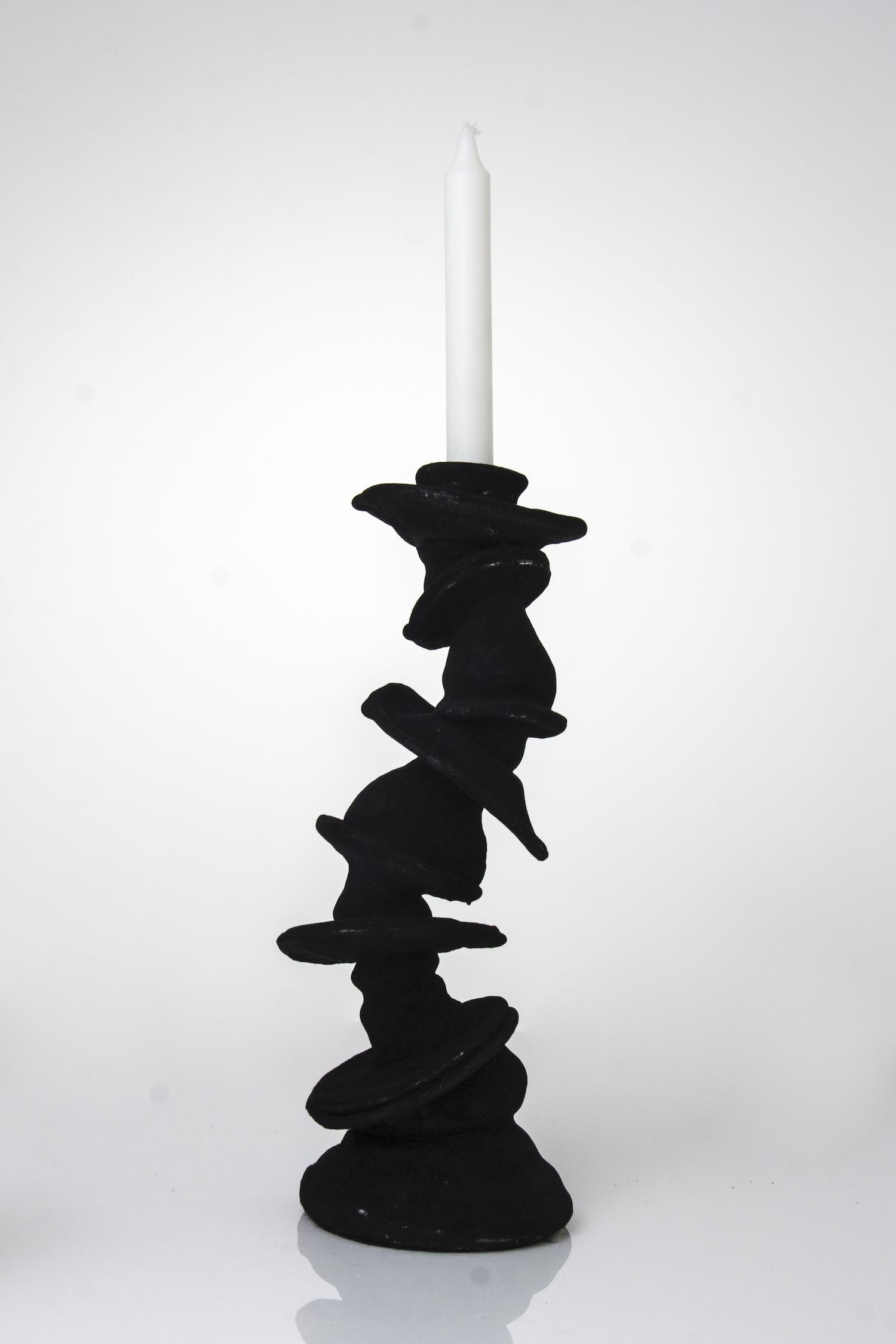 black funky candleholder 36cm