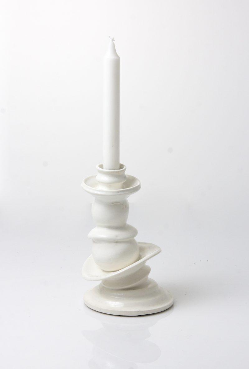 white ceramic candleholder 20cm